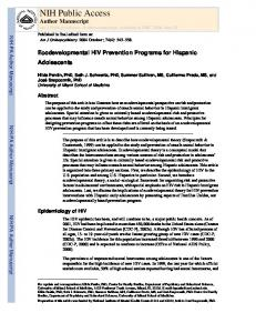Ecodevelopmental HIV Prevention Programs for Hispanic Adolescents