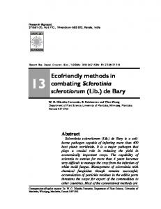 Ecofriendly methods in combating Sclerotinia sclerotiorum ... - CiteSeerX
