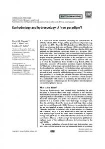 Ecohydrology and hydroecology: A `new paradigm'?