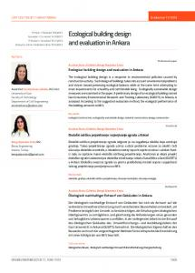 Ecological building design and evaluation in Ankara
