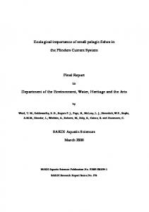 Ecological importance of small pelagic fishes in - Department of the ...