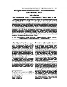 Ecological Interactions of Visceral Leishmaniasis ... - Semantic Scholar