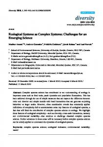 Ecological Systems as Complex Systems - MDPI