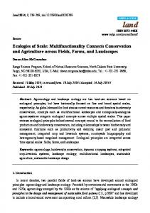 Ecologies of Scale: Multifunctionality Connects Conservation ... - MDPI