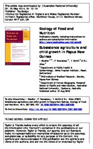 Ecology of Food and Nutrition Subsistence agriculture