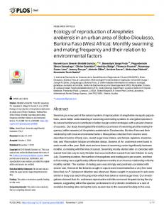 Ecology of reproduction of Anopheles arabiensis in an urban ... - PLOS