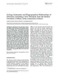 Ecology, Systematics and Biogeographical Relationships of Dinosaurs ...