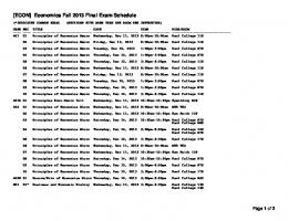 [ECON] Economics Fall 2013 Final Exam Schedule