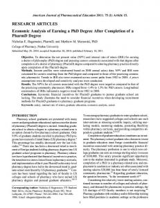 Economic Analysis of Earning a PhD Degree After Completion of a ...