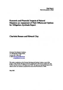 Economic and Financial Impacts of Natural Disasters - CiteSeerX