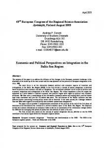Economic and Political Perspectives on Integration in the Baltic Sea