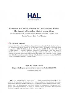 Economic and social cohesion in the European Union