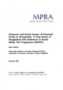 Economic and Social Impact of Financial Crisis on Households: A