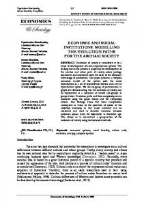 economic and social institutions - Economics and Sociology