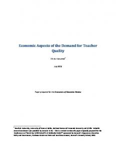 Economic Aspects of the Demand for Teacher Quality - Texas Senate