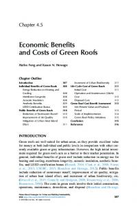 Economic Benefits and Costs of Green Roofs