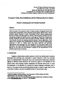 Economic Crisis, Social Solidarity and the Voluntary ...