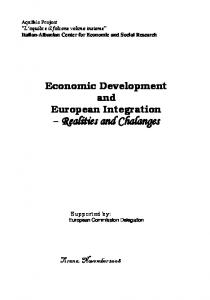 Economic Development and European Integration - ASET : : Albanian ...