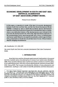 Economic development in South and East Asia - United Nations ESCAP