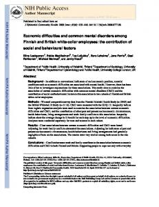 Economic difficulties and common mental disorders among Finnish ...
