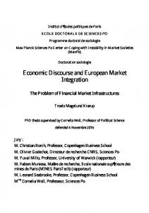 Economic Discourse and European Market Integration - WordPress.com