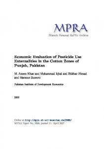 Economic Evaluation of Pesticide Use Externalities in the Cotton ...