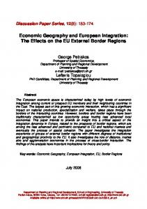 Economic Geography and European Integration: The Effects on the ...