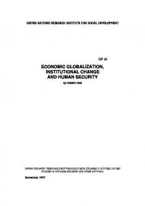economic globalization, institutional change and human security