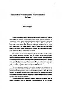 Economic Governance and Microeconomic Reform - University of ...