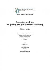 Economic growth and the quantity and quality of entrepreneurship