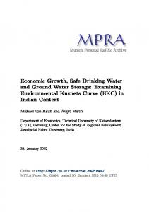 Economic Growth, Safe Drinking Water and Ground Water Storage ...