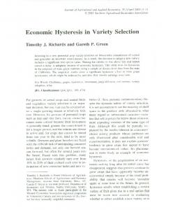 Economic Hysteresis in Variety Selection - AgEcon Search