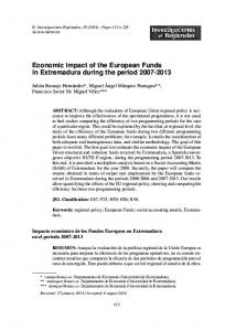 Economic impact of the European Funds in Extremadura during the ...