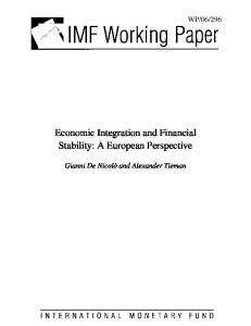 Economic Integration and Financial Stability: A European ... - IMF