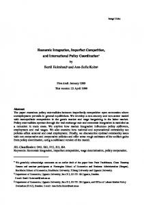 Economic Integration, Imperfect Competition, and International Policy
