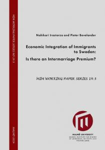 Economic Integration of Immigrants to Sweden: Is there an ...