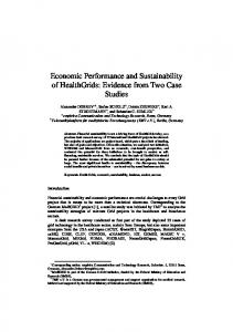 Economic Performance and Sustainability of HealthGrids: Evidence ...