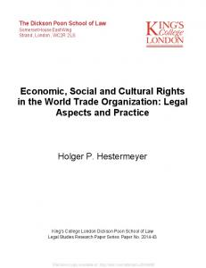 Economic, Social and Cultural Rights in the World Trade Organization ...