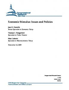 Economic Stimulus: Issues and Policies