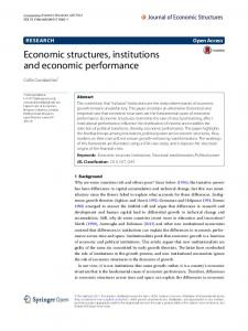 Economic structures, institutions and economic performance