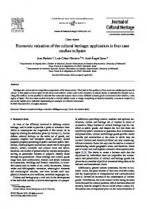 Economic valuation of the cultural heritage: application to four case ...