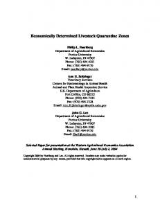 Economically Determined Livestock Quarantine Zones - AgEcon Search