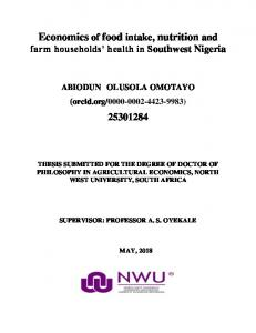 Economics of food intake, nutrition and