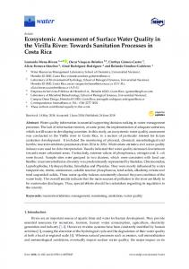 Ecosystemic Assessment of Surface Water Quality in the Virilla ... - MDPI