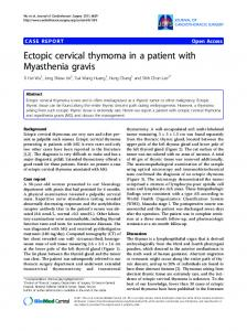 Ectopic cervical thymoma in a patient with Myasthenia ... - Springer Link