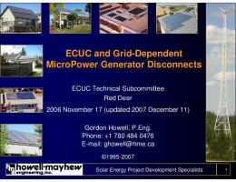 ECUC and Grid-Dependent MicroPower Generator Disconnects