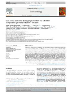 Eculizumab treatment during pregnancy does not ...