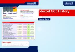Edexcel GCE History Resources Guide - Pearson Schools