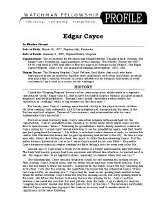 Edgar Cayce Profile - Watchman Fellowship