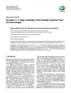 Edge-Antimagic Total Labeling of Special Types of ...